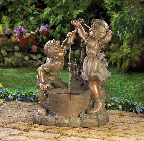Children In Garden Water Fountain