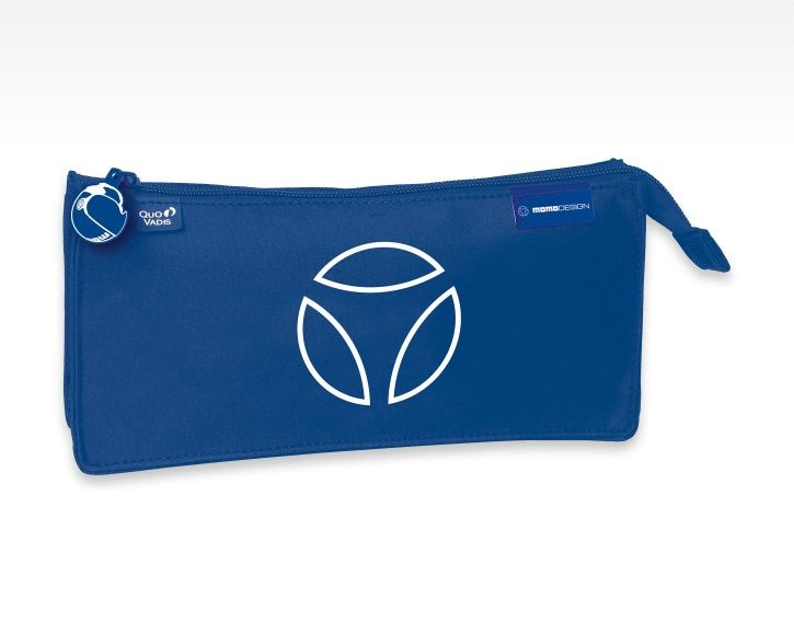 #MOMODESIGN collaborates with Quo Vadis. Pencil case blue with MOMODESIGN logo printed.