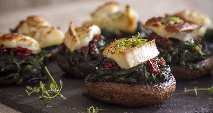 Μανιτάρια γεμιστά με σπανάκι και κατσικίσιο τυρί(3 μονάδες) | Diaitamonadwn.gr