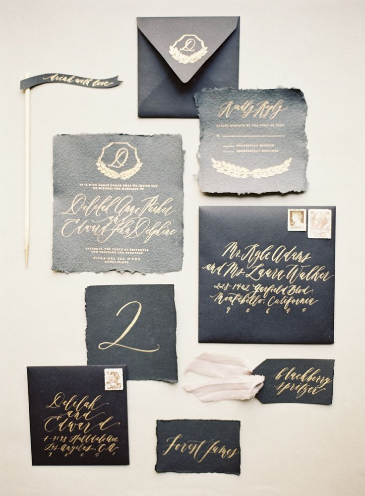Elegant Black and Gold Invitations | Kurt Boomer Photography | Ivory and Ink - A Moody and Dramatic Industrial Wedding Palette