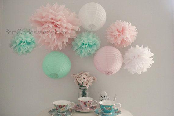 Menthe et rose Decoration.mint de mariage mariage, Blush rose décoration anniversaire, décor à la menthe, décor Mobile, réception, Baby Shower, douche nuptiale