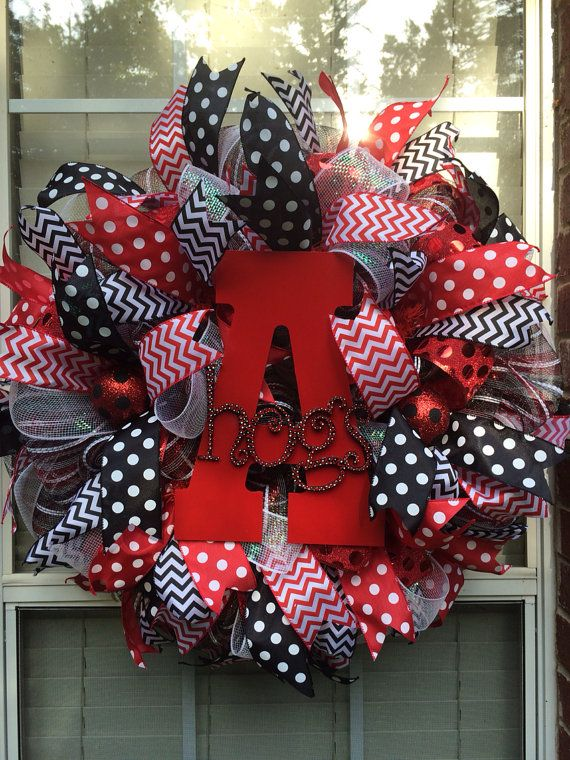 Arkansas Razorback Wreath by GlitzyGirlDesigns on Etsy