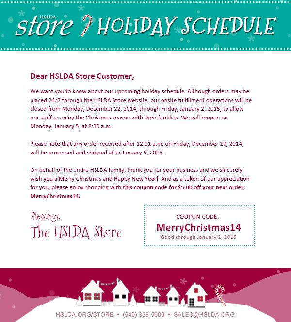 40 best hslda store images on pinterest homeschool important message regarding our store holiday hours pssteres a 5 coupon fandeluxe Choice Image
