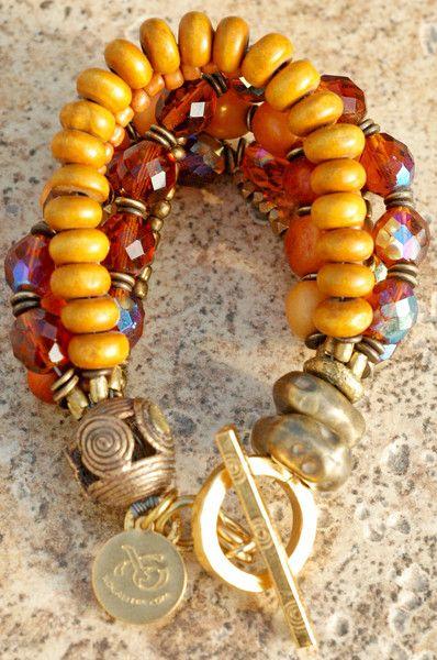 Elegant Victorian Style Amber, Glass and Bronze Multi-Strand Bracelet | XO Gallery