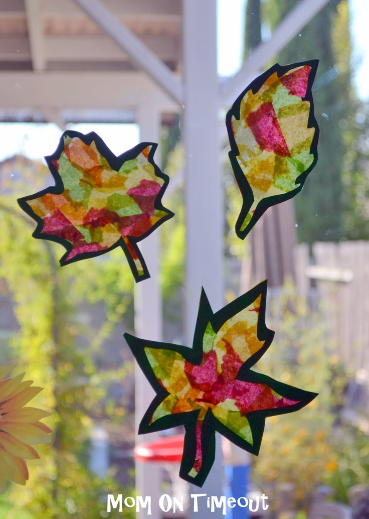 Stained Glass Fall Leaves Craft With Template Stained