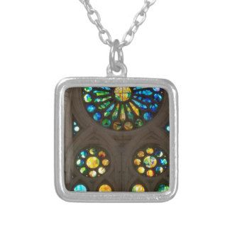 Church Cathedral Christ Wall Stained Glass Deco 99 Square Pendant Necklace