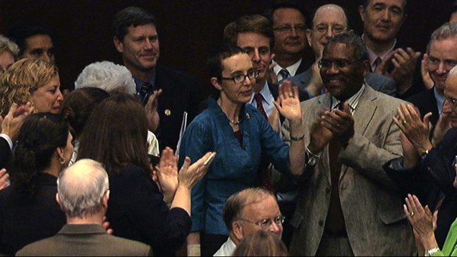 U.S. Rep. Gabrielle Giffords, who had been shot in the head on Jan. 8, 2011, by Jared Lee Loughner.  She survived and has made great recovery and is an inspiration.  ..........(from source) Standing ovation as Gabrielle Giffords votes on US debt limit bill | Herald Sun