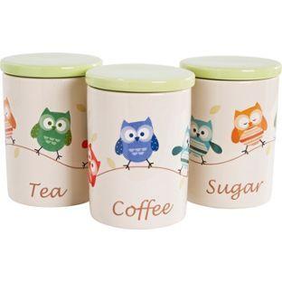 Buy Living Set Of 3 Ceramic Owl Storage Jars
