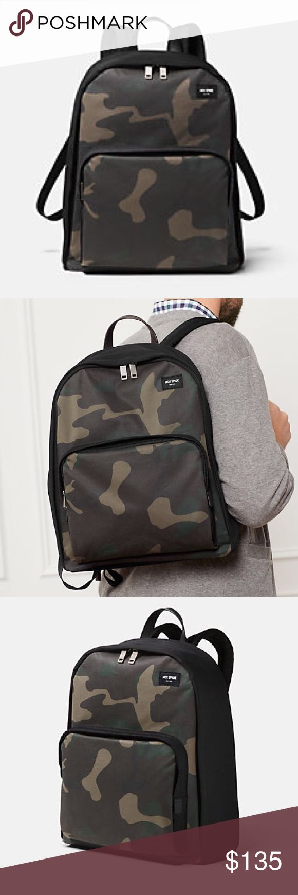 NWT Jack Spade Camo Backpack Stylish and classic camo twill bookbag/ backpack. See picture for comparable size. Fits a laptop and has plenty of space with big front pocket! Jack Spade Bags Backpacks