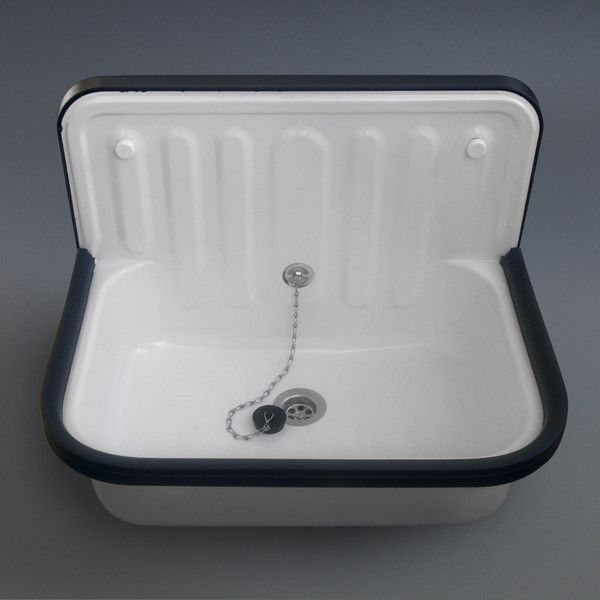 Enamel Bucket Sink - This 'Bucket Sink' is a very traditional product in Germany. It has proved very popular since it was introduced in our Redchurch Street store. Although originally designed for use in garages and workshops, our customers have used it to great effect in bathrooms and kitchens. The bucket sink includes fixing set and plastic overflow set, with plug and chain. Requires wall-mounted taps.