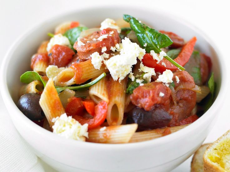 This Mediterranean pasta is packed with flavour, from salty fetta and olives to spicy kransky sausage and red chilli.