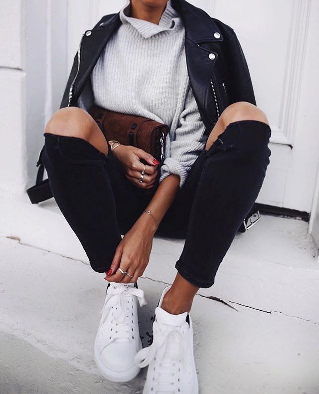 leather jacket, white shoes, ripped jeans, sweater, winter fashion