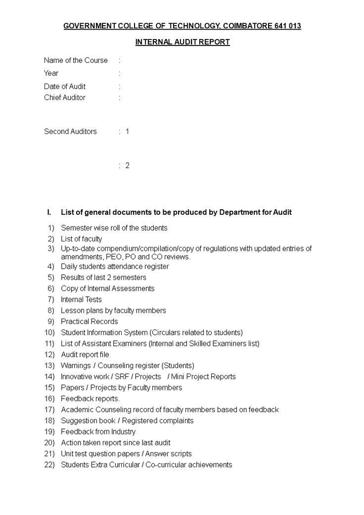 Internal Audit Notification  InternalAuditNotificationDocx