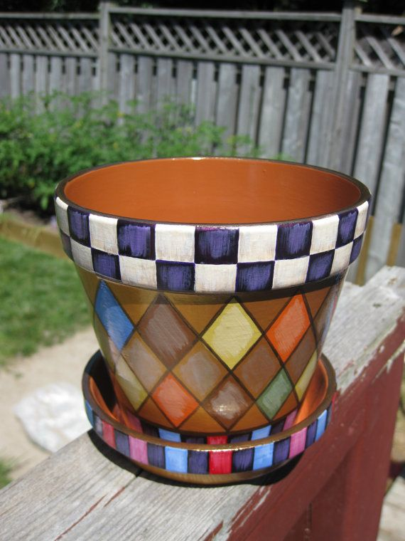 Whimsical  Terracotta Planter /Country checkered design/ Flower pot/ Hand painted pottery/ check and diamond pattern