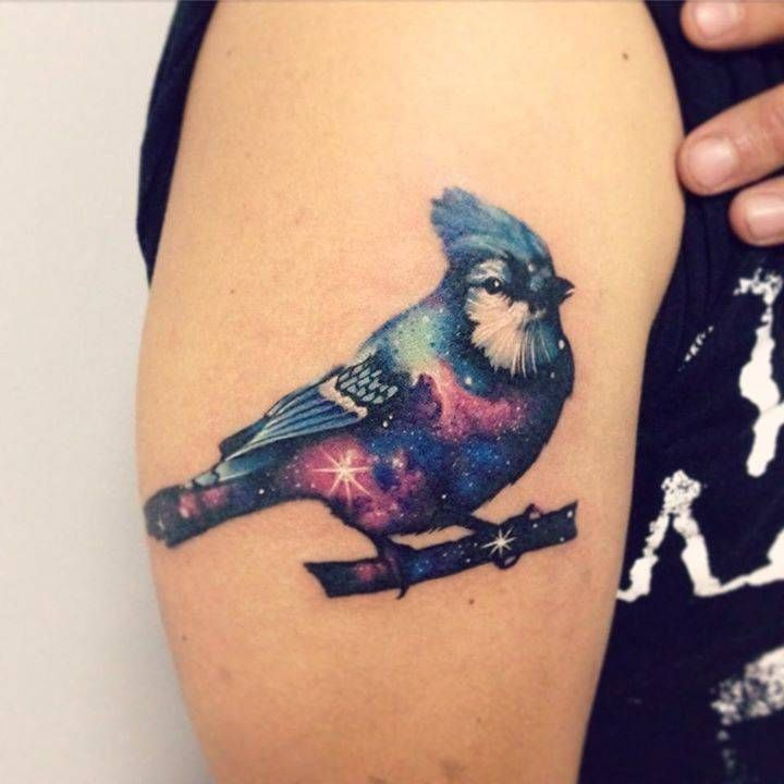 Galactic blue jay tattoo on the right upper arm. Tattoo artist: Adrian Bascur