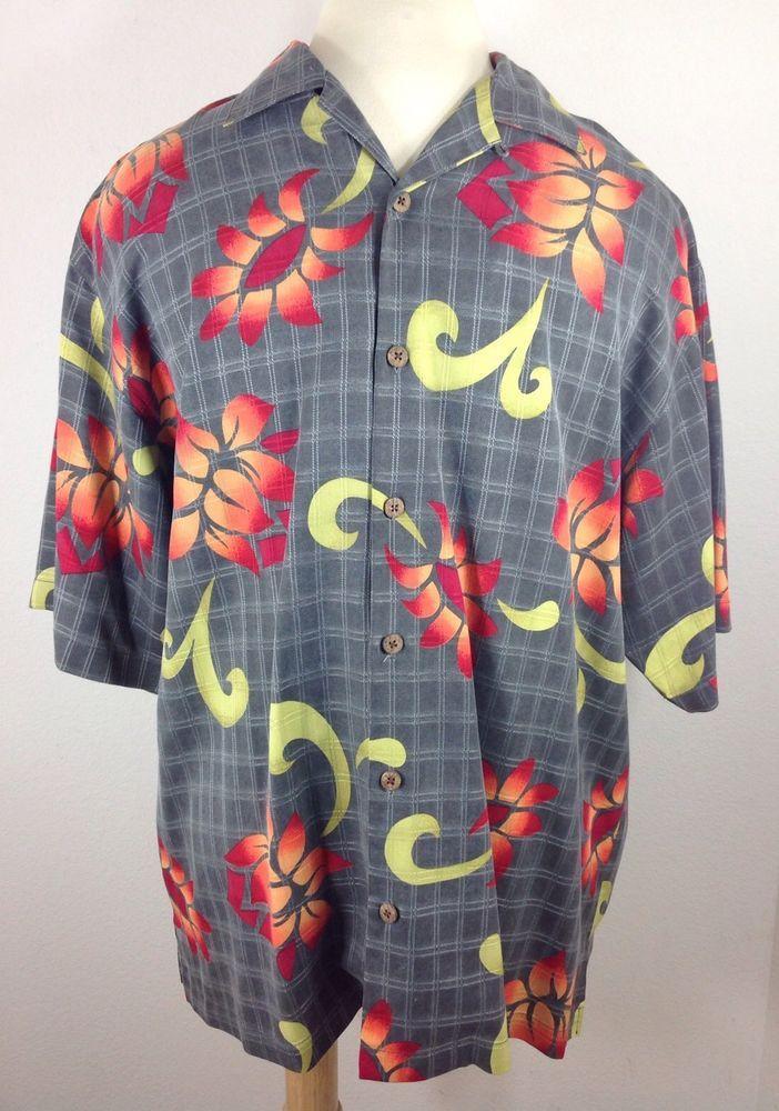 c87d97f7 TOMMY BAHAMA Men Size Large Hawaiian Shirt Gray Silk Floral Plaid Button  Down* #TommyBahama #Hawaiian