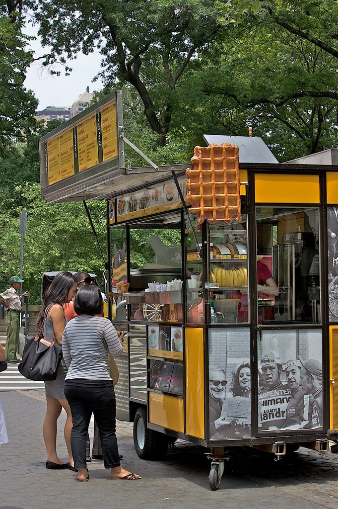 Food cart - waffles and dinges... I like that the menu is on the pannel