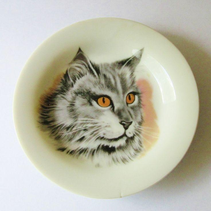 Cat Plate Коллекционная фарфоровая серый полосатый по botanicallampshades