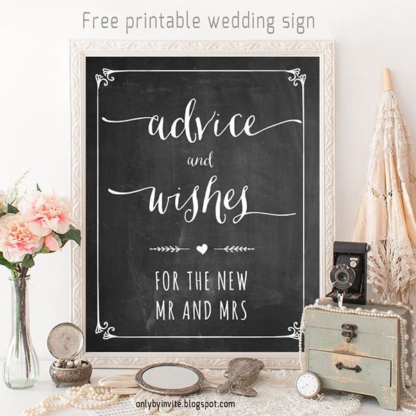 FREE wedding printable: Advice and wishes sign by Only By Invite