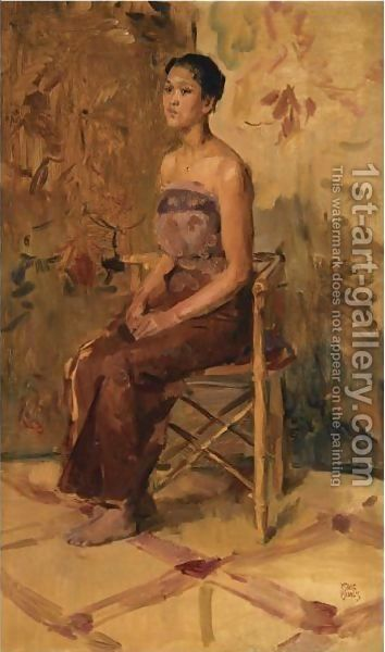 Isaac Israels:A Portrait Of A Seated Javanese Beauty