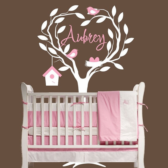 Baby Tree Wall Decal Nursery Bird Nest  by onehipstickerchic, $69.95Wall Art, Nurseries Decor, Little Girls, Birds Nests, Girls Room, Tree Wall Decals, Baby Room, Baby Girls, Trees Wall Decals
