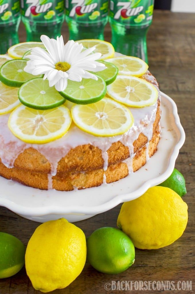 This 7 UP Cake from Scratch with Lemon Lime Glaze is moist and buttery and bursting with lemon lime flavor! The perfect dessert for summertime entertaining! | Back For Seconds