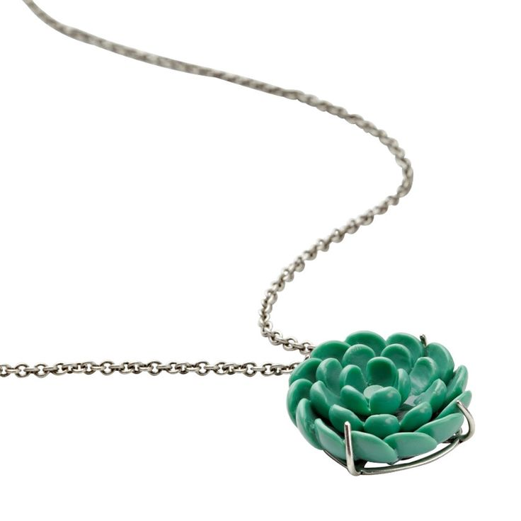 #Fossil #necklace #green #flower #vintage #silver