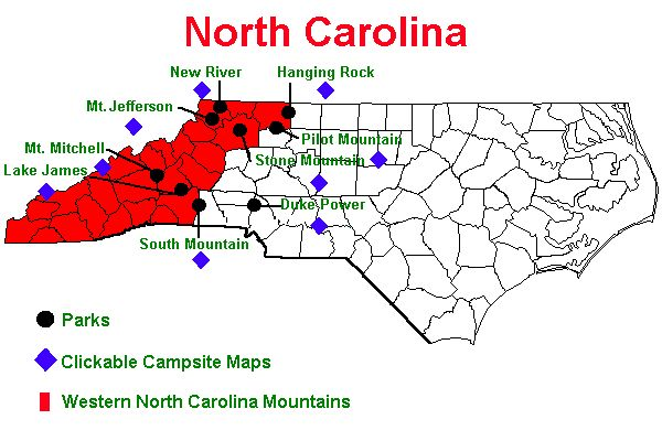 WNC Camping {Where my family is from..far right left/bottom - smokey mountains}