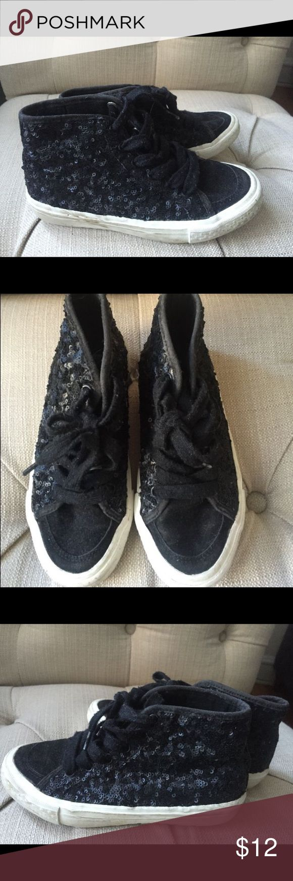 Zara sequin high tops sneakers Zara girl's high top sneakers Europe size 31 or US size Black with sequins. Zara Shoes Sneakers