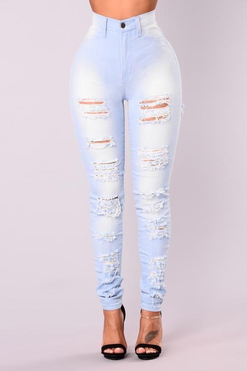 Bae In Distress Skinny Jeans - Light Denim