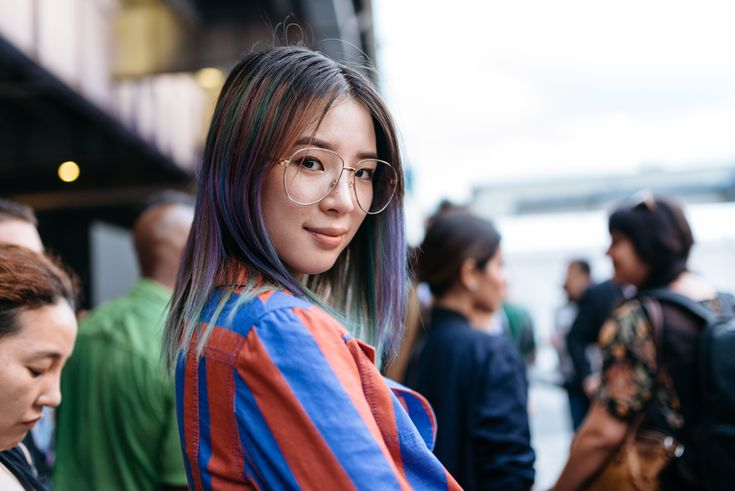 Gucci clear aviator glasses and rainbow hair street style at NYFW SS17 - Photo by Maria Gibbs