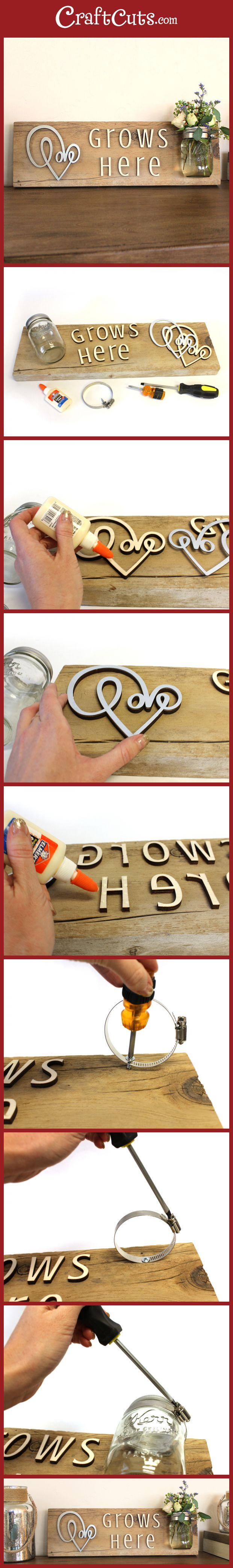 Reclaimed Wood Love Grows Sign and Vase | Mason Jar Vase | CraftCuts.com