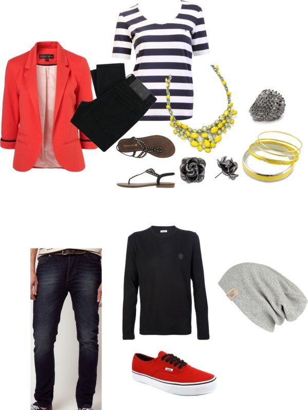 An edgy look with vibrant colors- engagement outfit