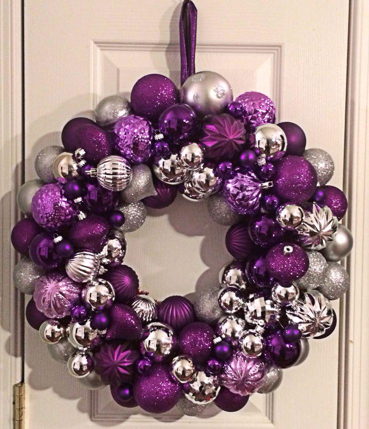 Dark Purple amp Silver Ornament Wreath ORNAMENT WREATH