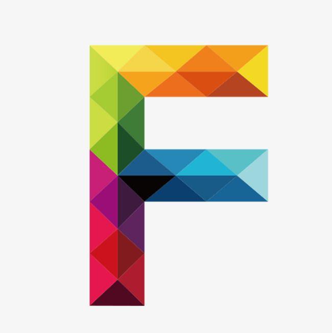 Colorful Letters F Polygon Art Letter F Lettering Alphabet