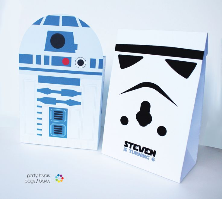 Star Wars party favors bags and boxes. Availables at Party Favors Place partyfavorsplace@gmail.com