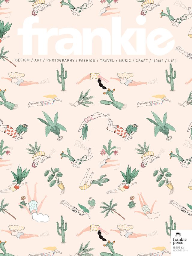 Frankie Magazine. The Frankie magazine cover combines quirky motifs to create an all over print. The uses of a pastel peach colour as the background completes the botanical characters well. The fine line work along with the pastel colour palette keeps the illustration balanced and cohesive. - Valeria Sanchez