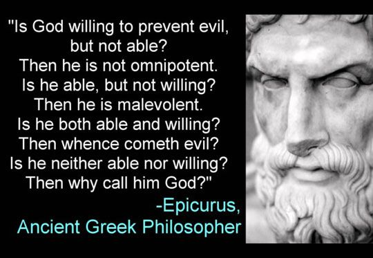 "First of all, this quotation is GROSSLY misattributed to Epicurus, when it was actually David Hume who stated this. Secondly, when you add ""God is desirous of free moral agents,"" then God does not need to be questioned. Take a philosophy class."