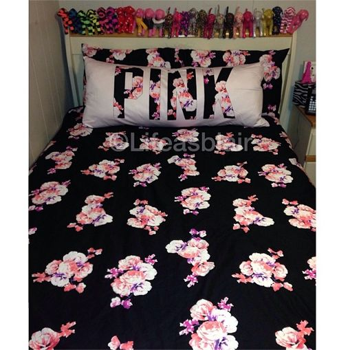 pink comforter pillow love victoria secret