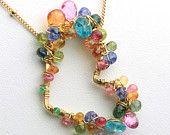 ジェムス トーン ハートネックレス、バレンタインのネックレス。ピンク サファイア、トルマリンのネックレス。