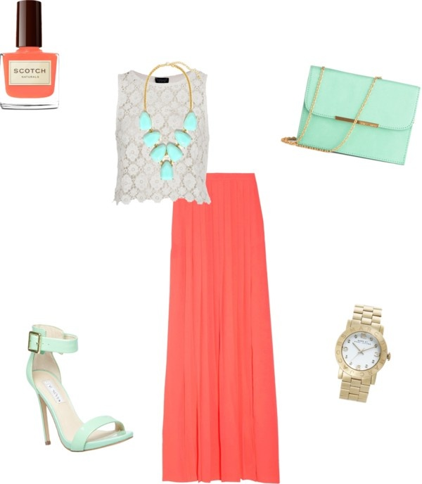 """Mint and Coral"" by vintagerose914 on Polyvore"