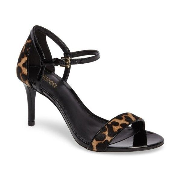 Women's Michael Michael Kors 'simone' Sandal ($120) ❤ liked on Polyvore featuring shoes, sandals, cheetah hair calf, cheetah print shoes, anchor sandals, ankle strap sandals, dressy shoes and strap sandals