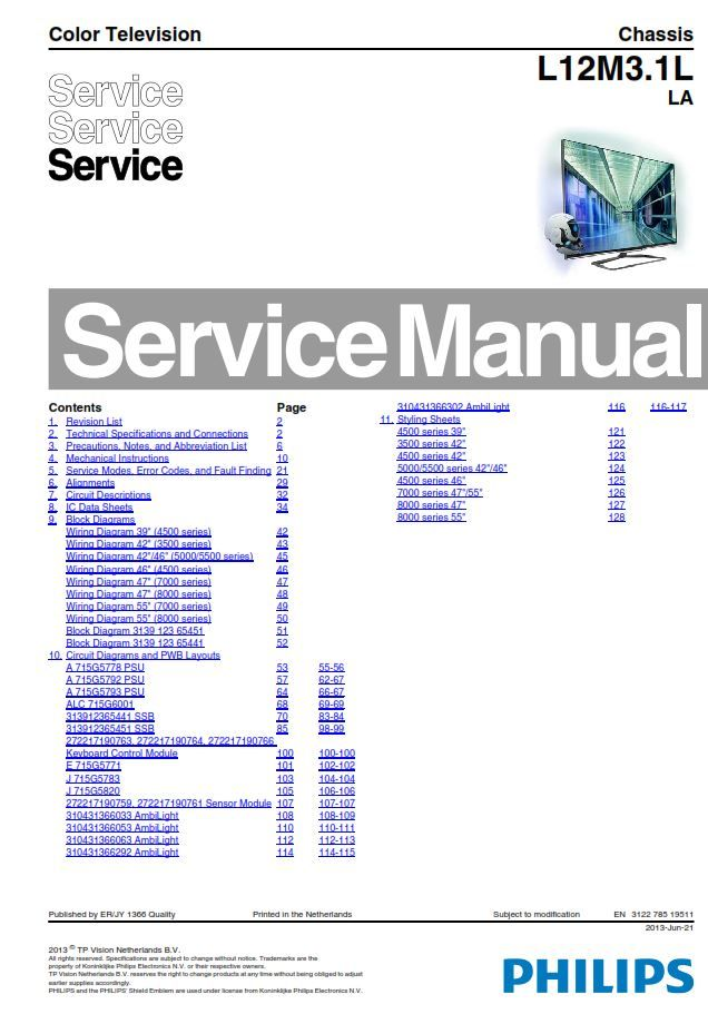 Philips 32pfl4508g Tv Service Manual And Repair Instructions Tv Services Philips Manual