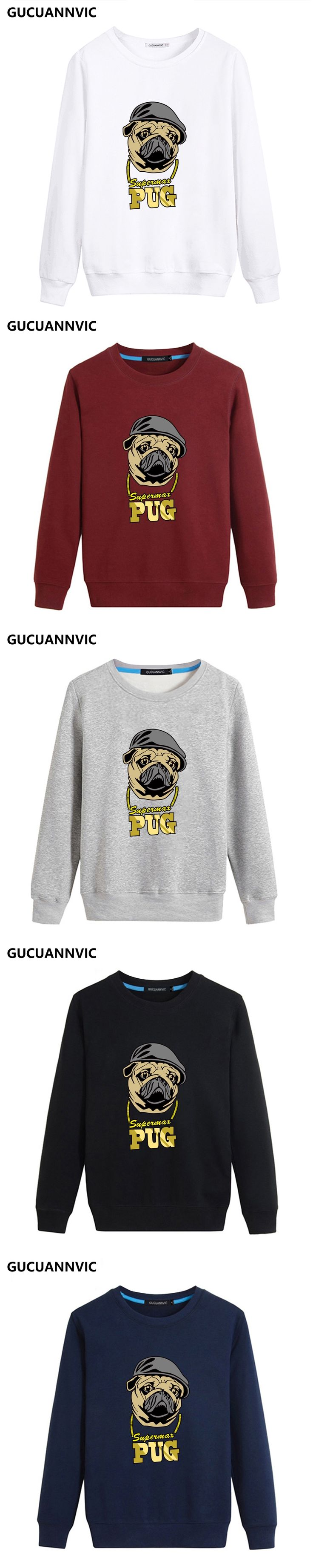 Round neck pug dog pattern printed sweatshirts for men brief temperature cotton pullover tracksuit hip pop new leisure tops
