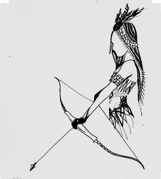 Indian Girl Bow And Arrow Drawing art encre par ChicCharcoals