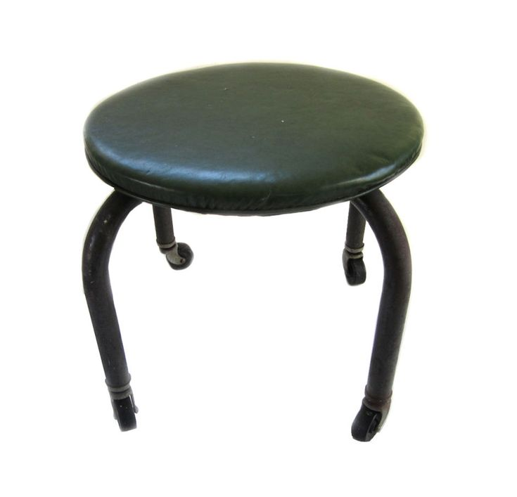 Vintage Industrial Metal Shop Garage Stool with Bassick Casters Mid-Century  #Industrial