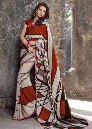 Casual Wear  Crepe Red Printed Saree