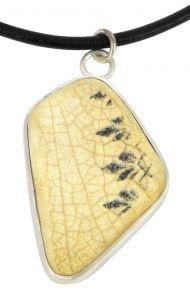 Black Leaf porcelain and sterling silver pendant
