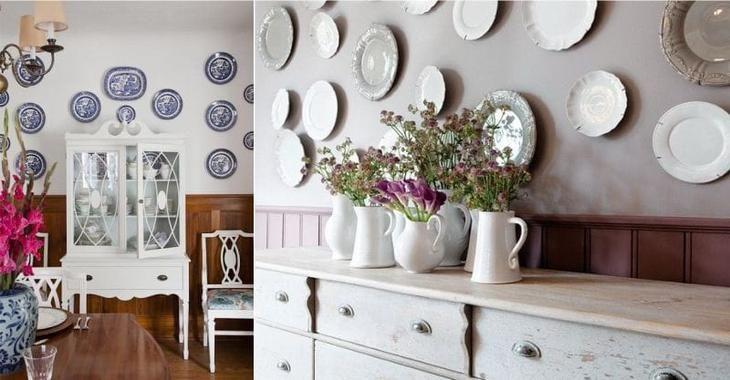 Идея Дань традициям  тарелки и подносы на стенах. 10 идей настенного декора для кухни. Фото с сайта NewPix.ru