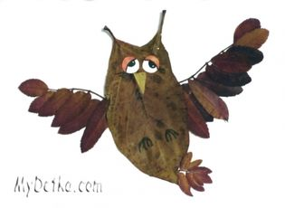 craft: owl and leaves